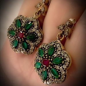 RUBY EMERALD FLOWER EARRINGS Solid 925 Silver/Gold